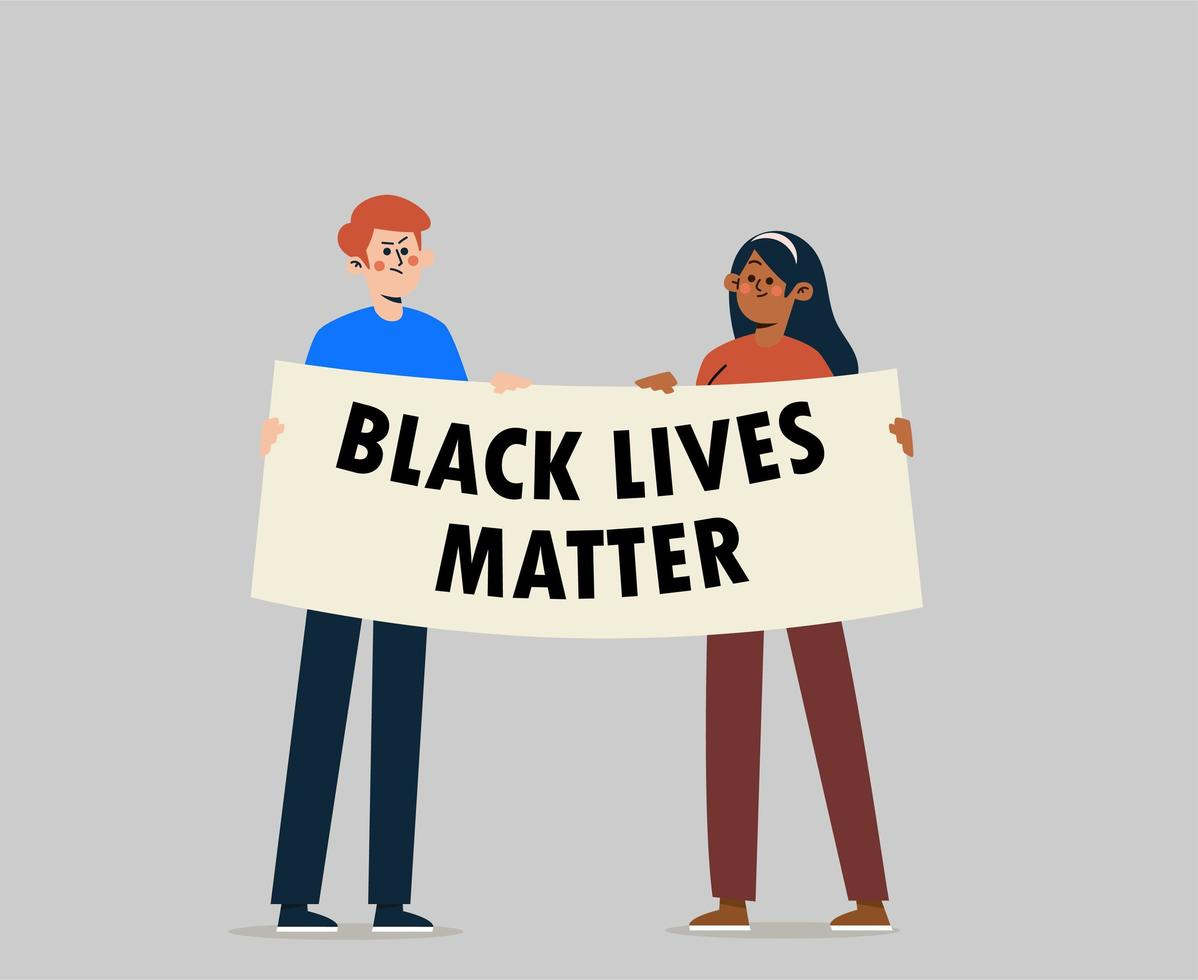 People with streamer and signs protesting for Black Lives Matter movement vector