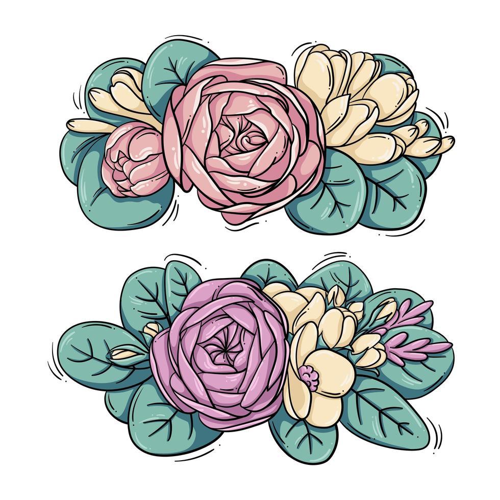 conjunto de composições de flores fofas vetor