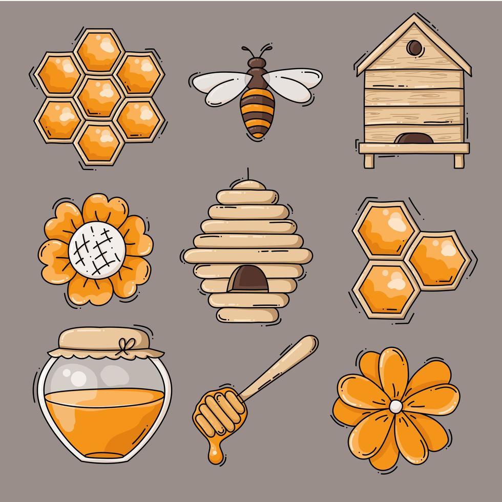 coleção de ícones de mel e abelhas fofa vetor