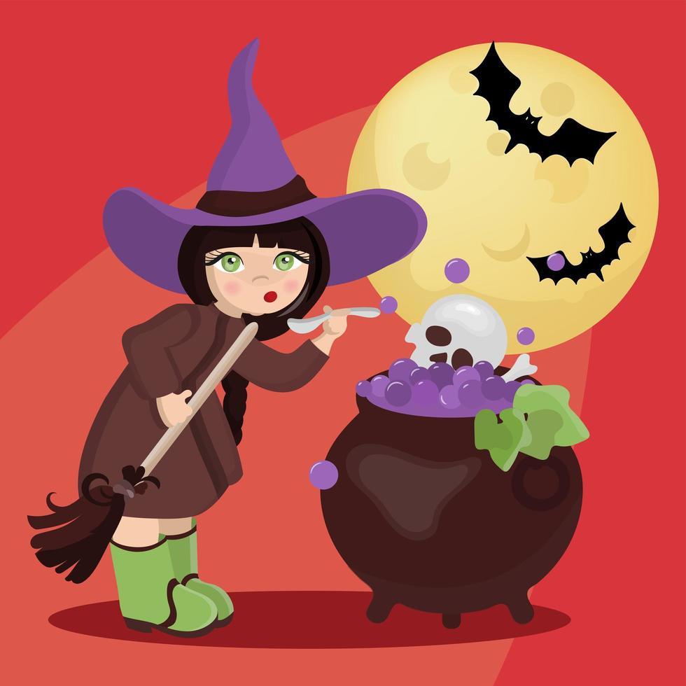 bruxa mística do halloween vetor