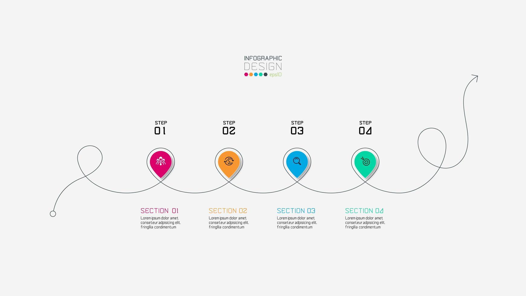 linhas de 4 etapas usadas para apresentação vetor