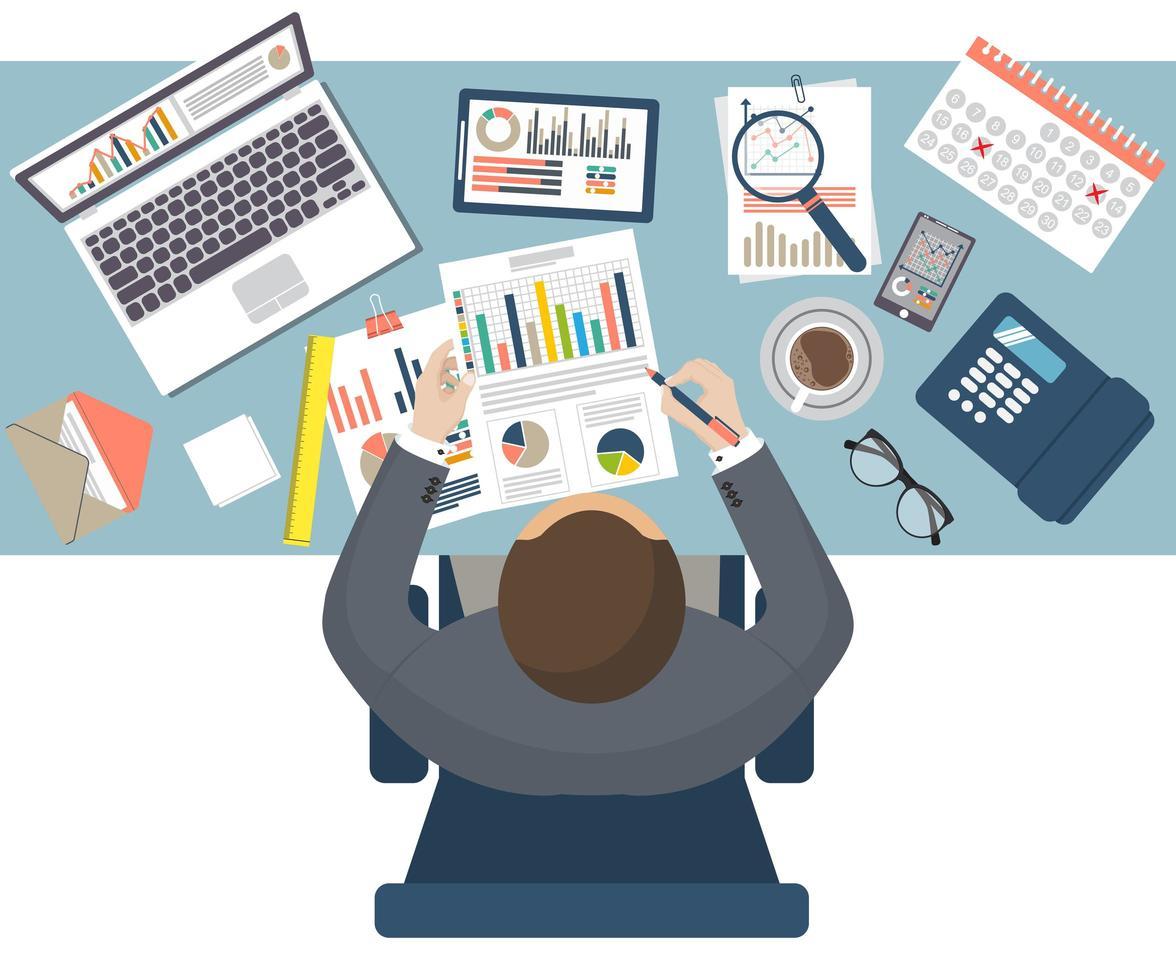 auditor fiscal sentado en el escritorio vector