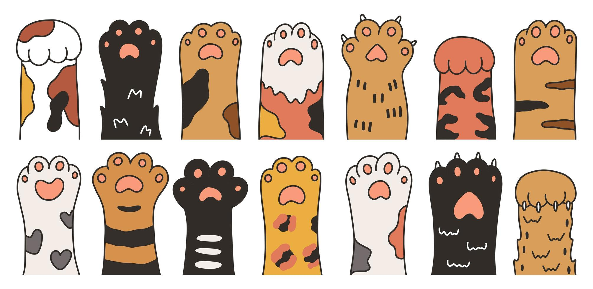 Cartoon Hand Drawn Cat Paws Set vector