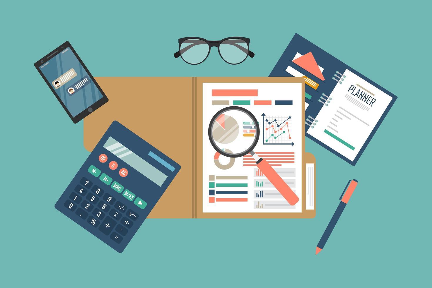 processo de análise de dados fiscais vetor