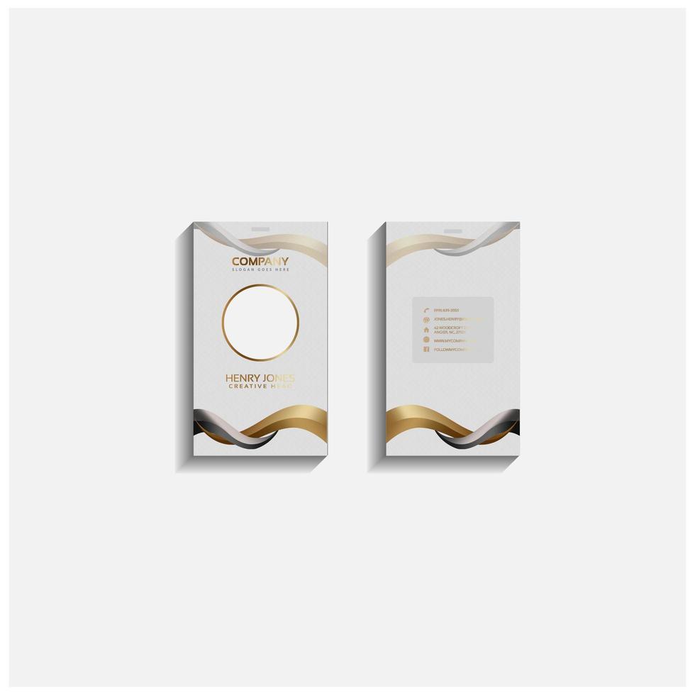 cartão de identificação elegante ou modelo de cartão de visita branco, dourado vetor
