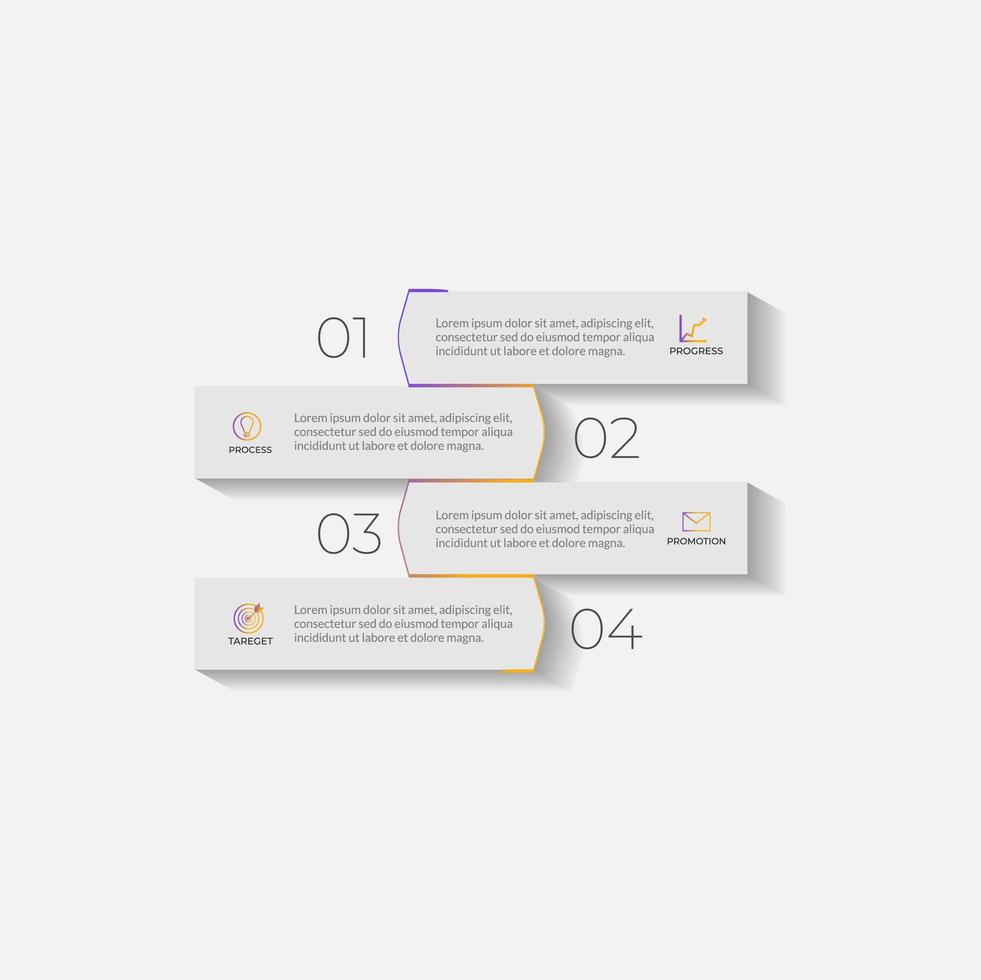 modelo de negócios de infográficos com gradientes minimalistas vetor