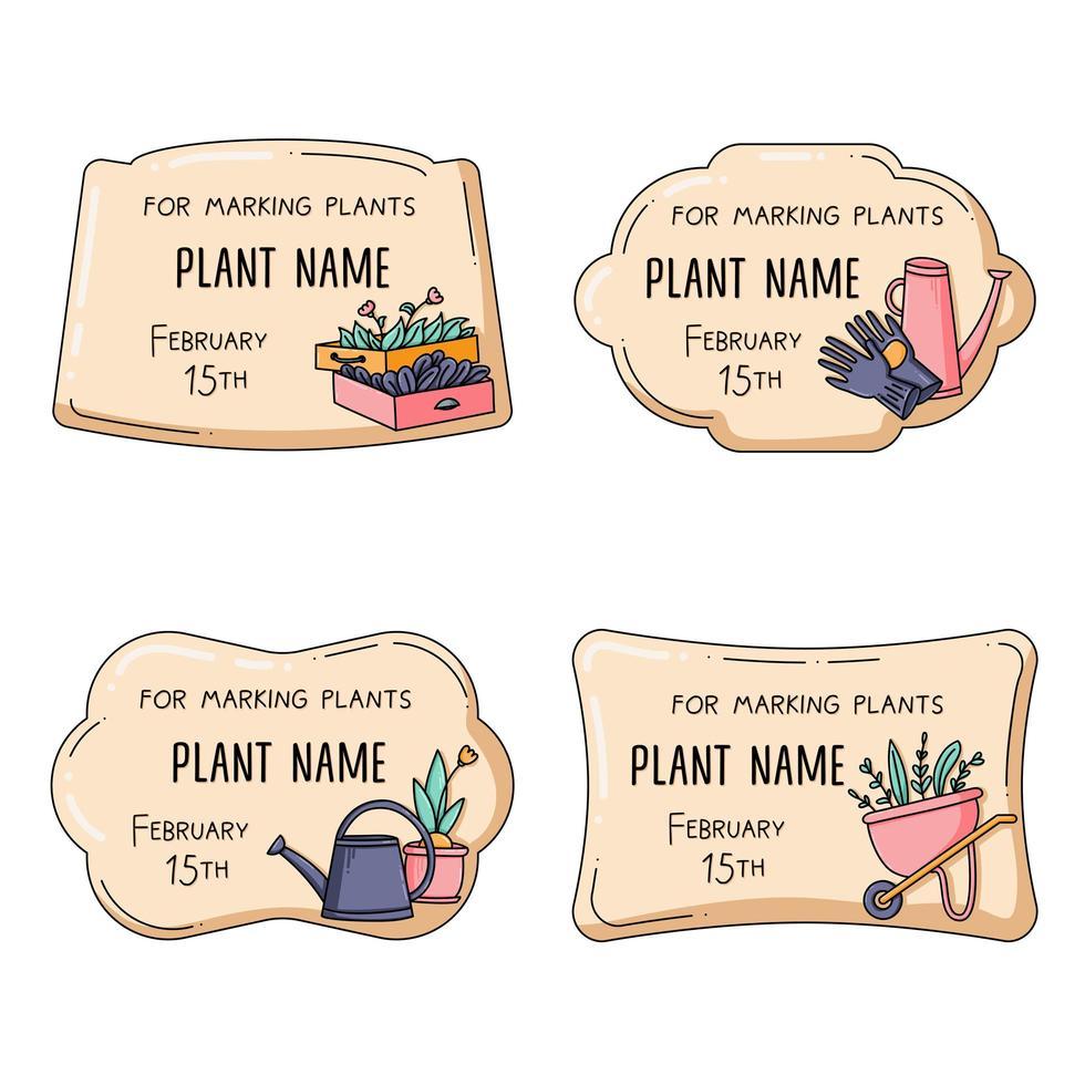conjunto de etiqueta de planta para jardinagem e cultivo vetor