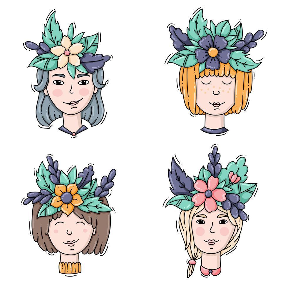 conjunto de cabeças de meninas com coroas de flores vetor