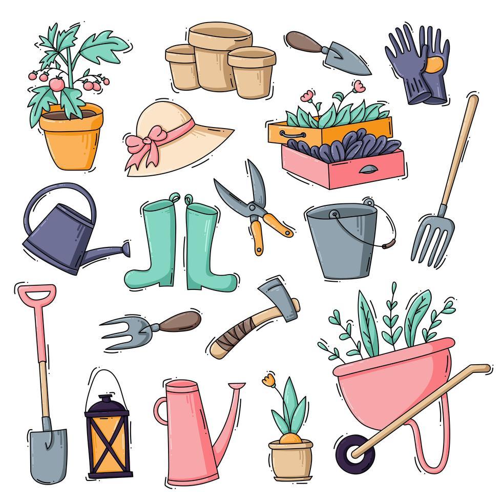conjunto de ícones de jardinagem e cultivo vetor
