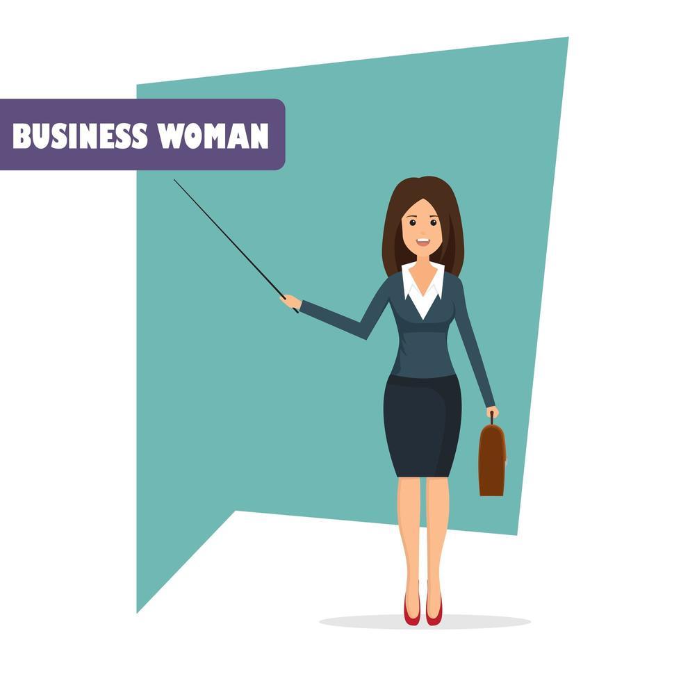personagem de mulher de negócios apontando vetor