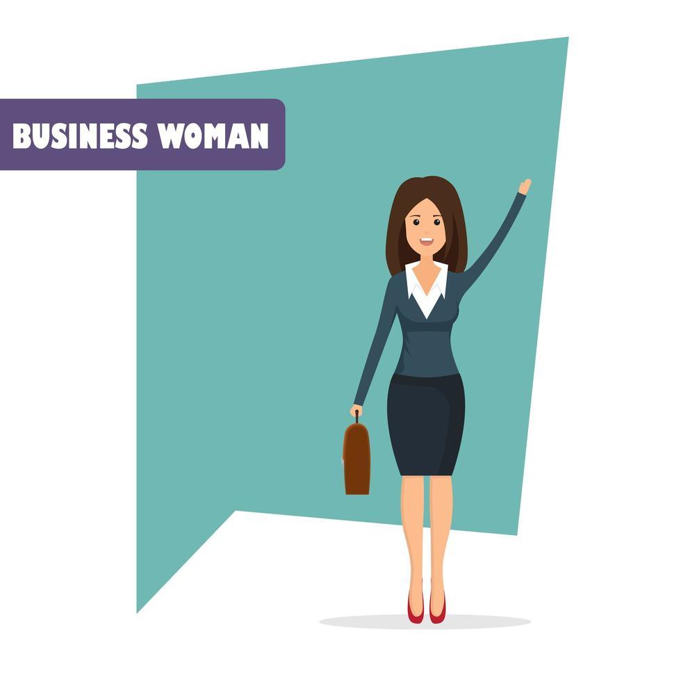 personagem de mulher de negócios em estilo simples vetor