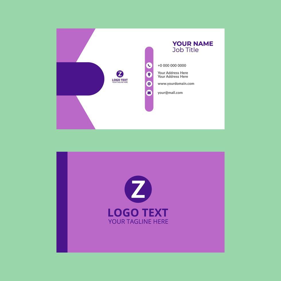 modelo de cartão de visita geométrico simples roxo e branco vetor
