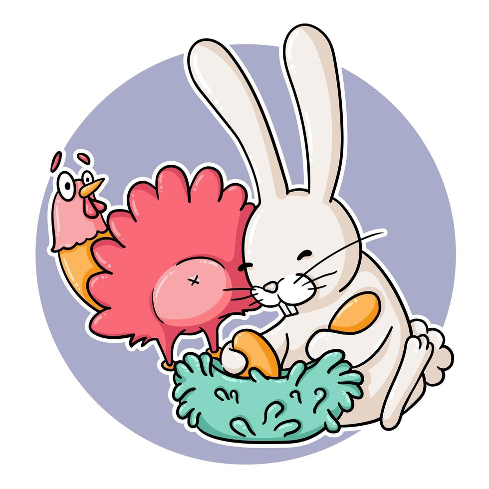 coelho engraçado caçando ovos de galinha vetor