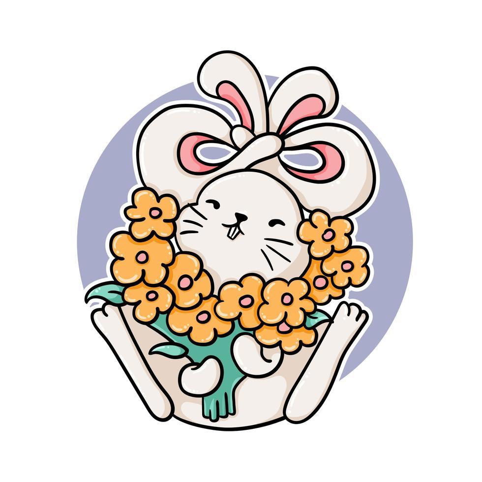 coelho engraçado com flores vetor