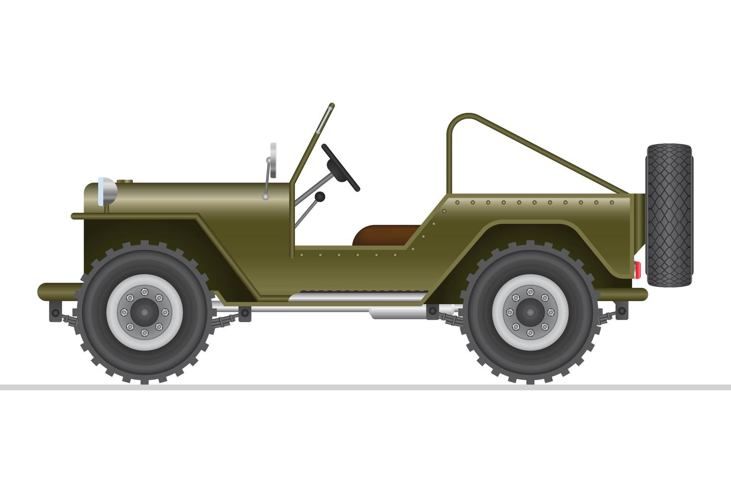 carro off road militar verde isolado vetor