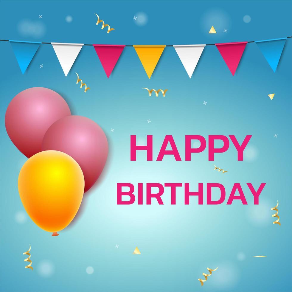 feliz aniversário fundo com balões vetor