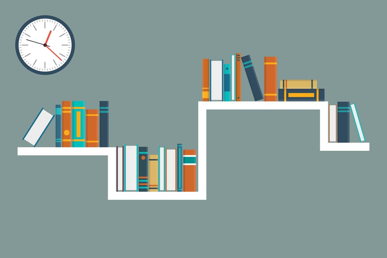 livros em uma prateleira e um relógio vetor