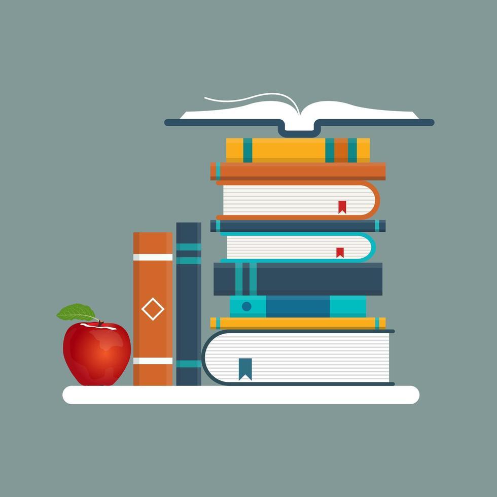 libros y manzana en un estante vector