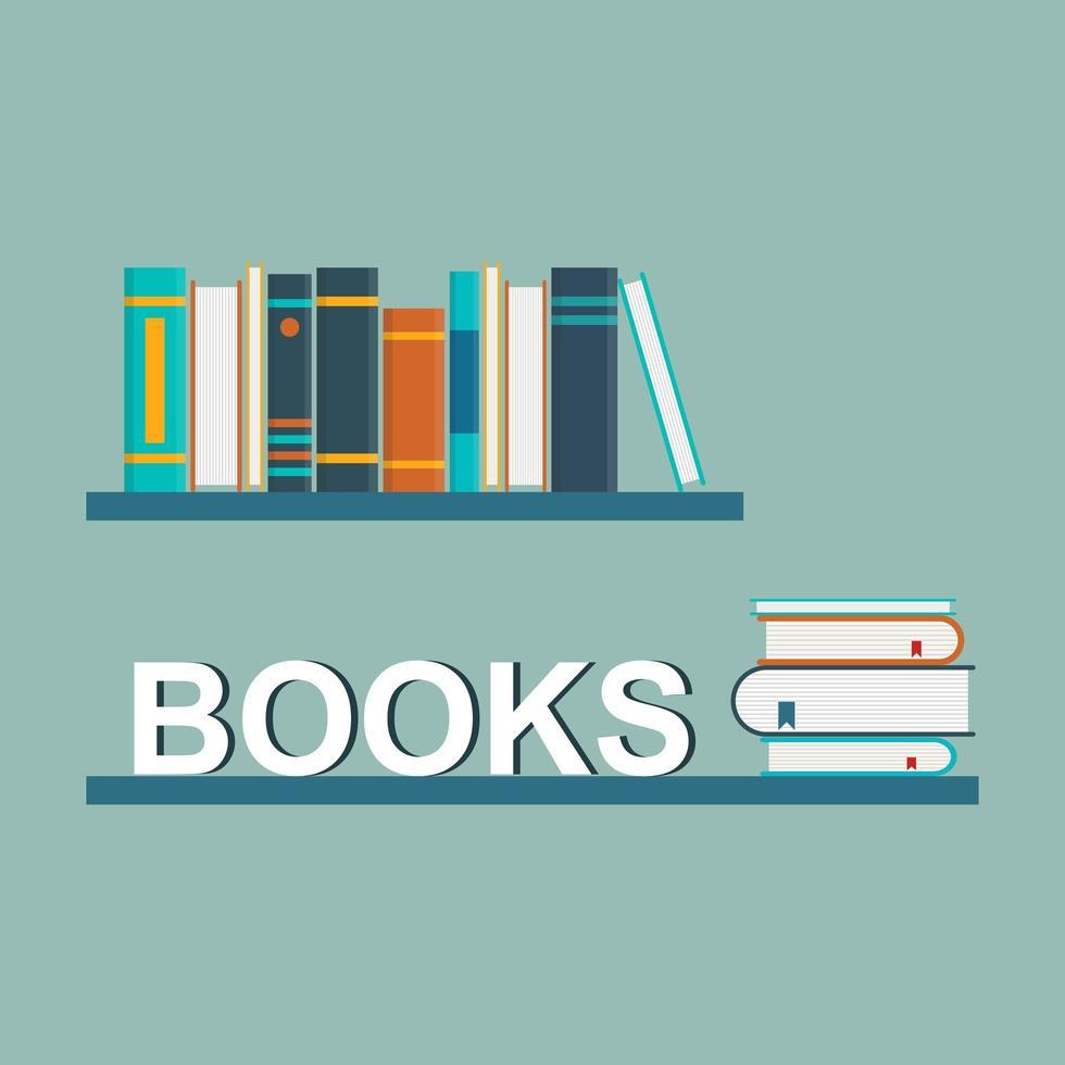 libros en los estantes vector