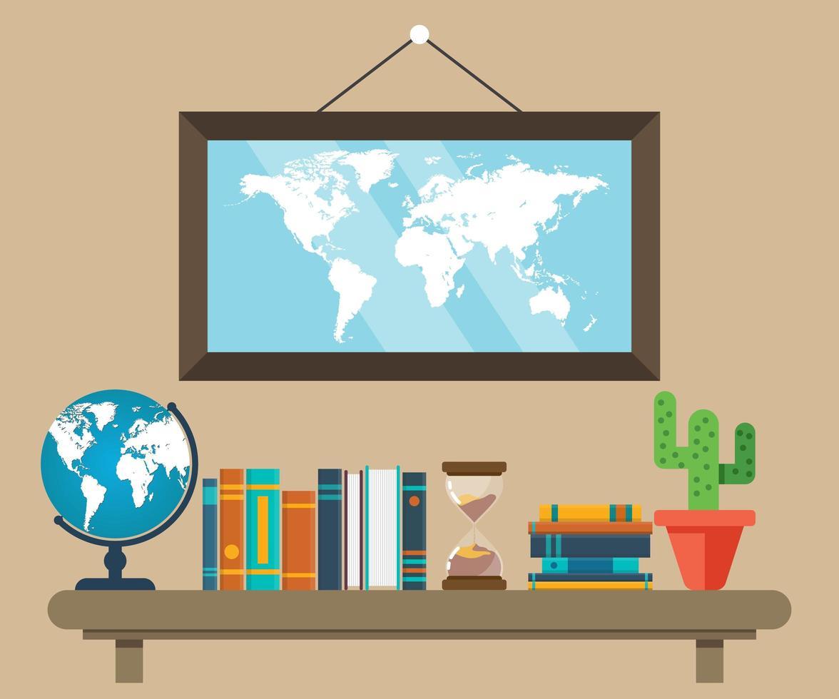 livros e globo terrestre em estilo simples vetor