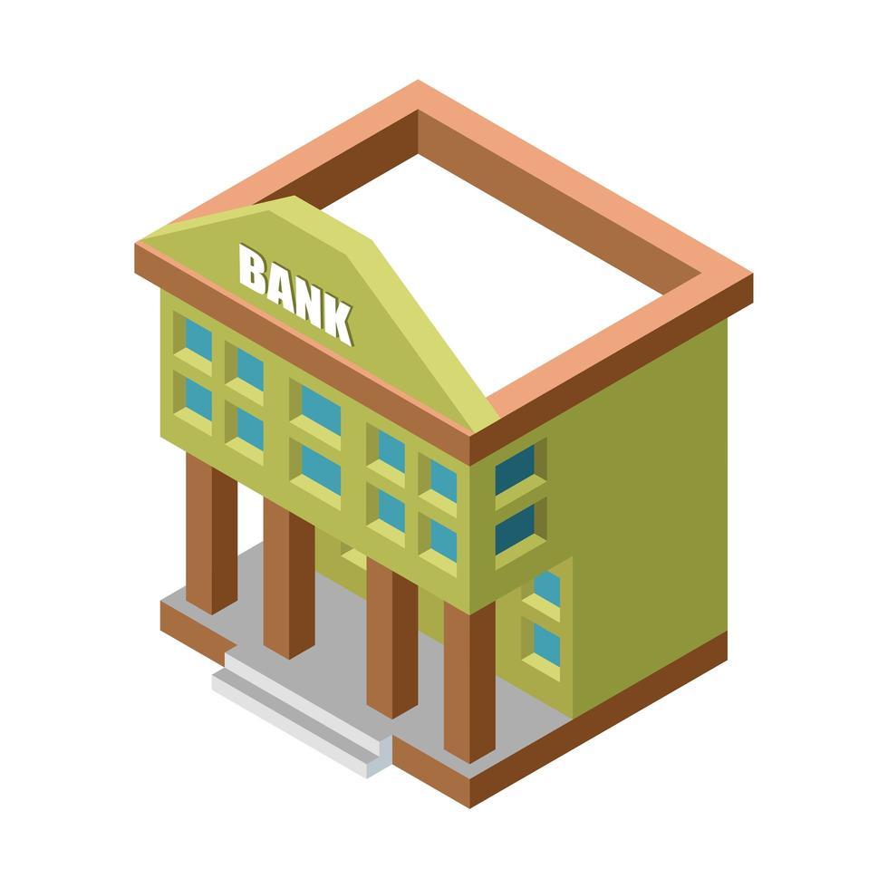 edifício de banco isométrico verde isolado vetor