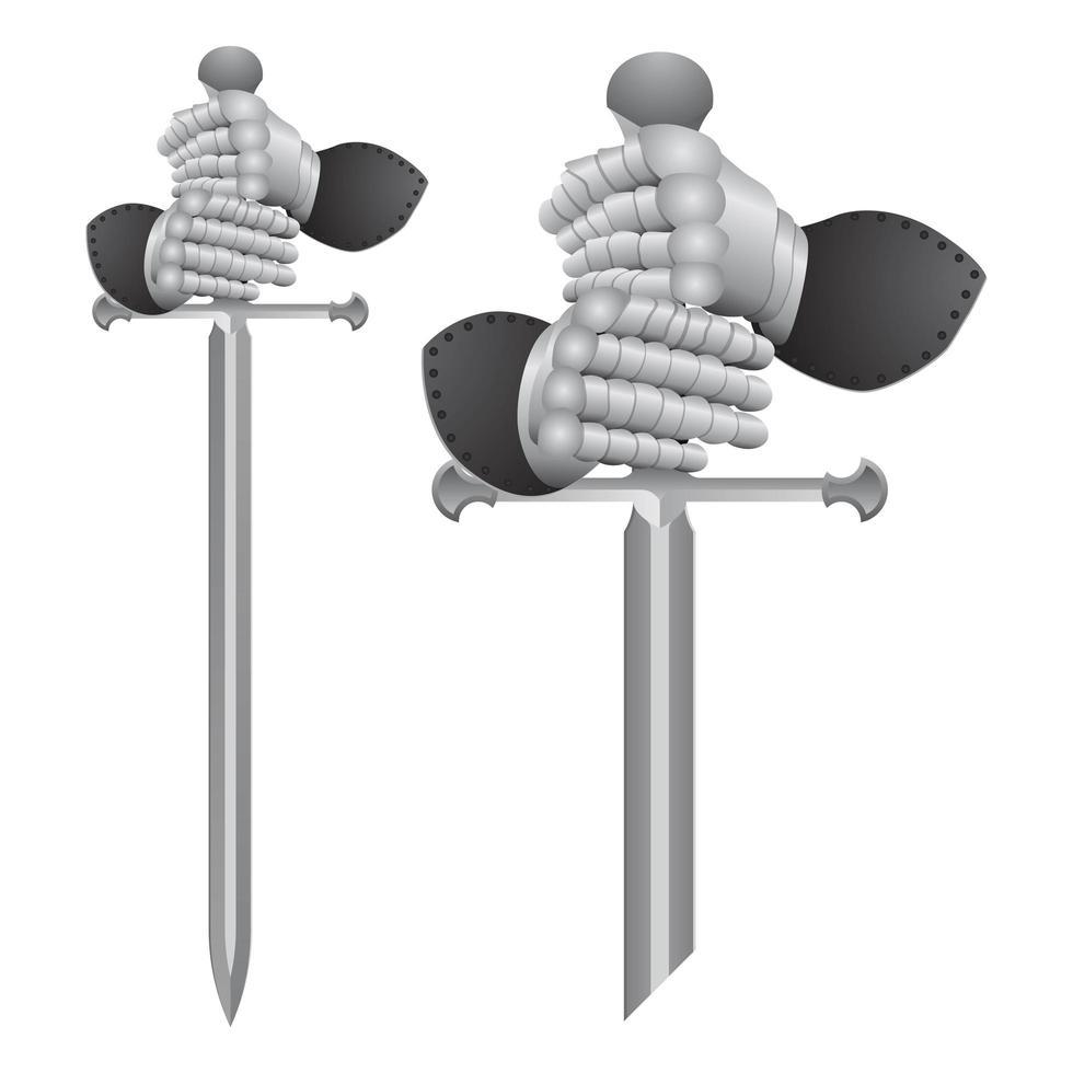 luvas de cavaleiro e espada vetor