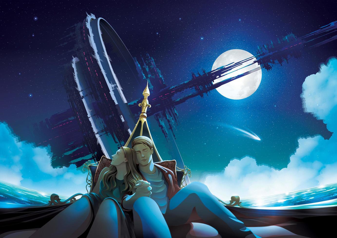 casal em um barco gôndola à noite com espaço ao fundo vetor