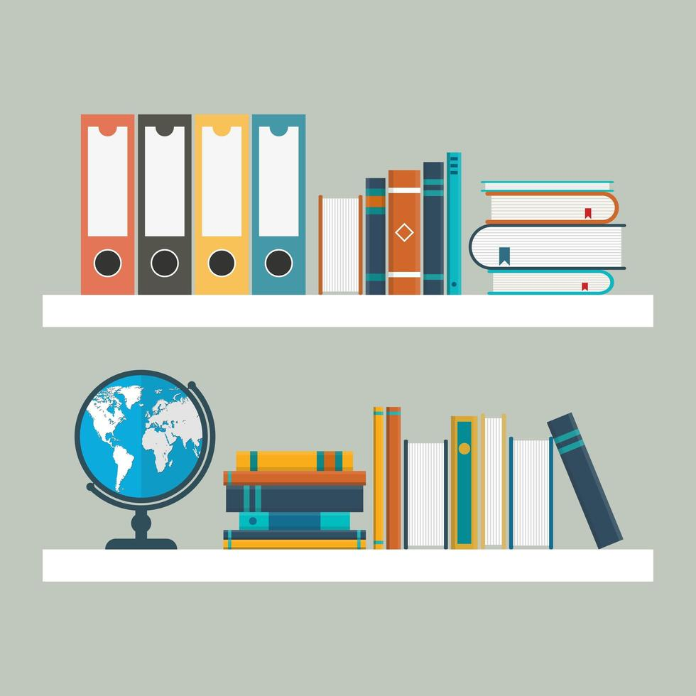 Two white shelves with books in flat style vector