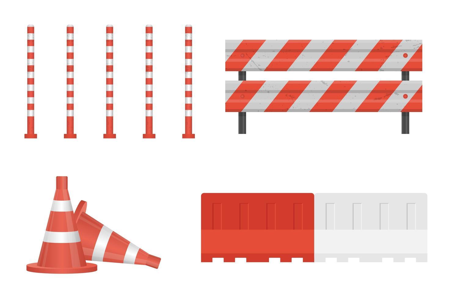 conjunto de laranja e branco em barreira de construção vetor