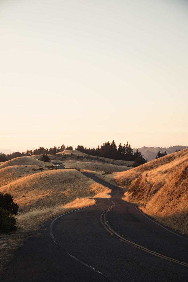 Winding road on brown grassy hills photo