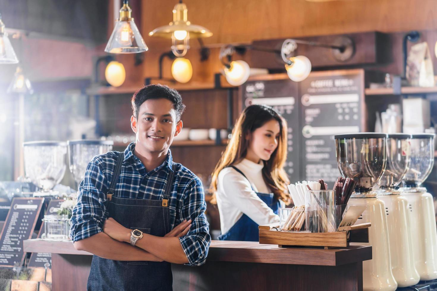 Portrait of Asian young small business owners  photo