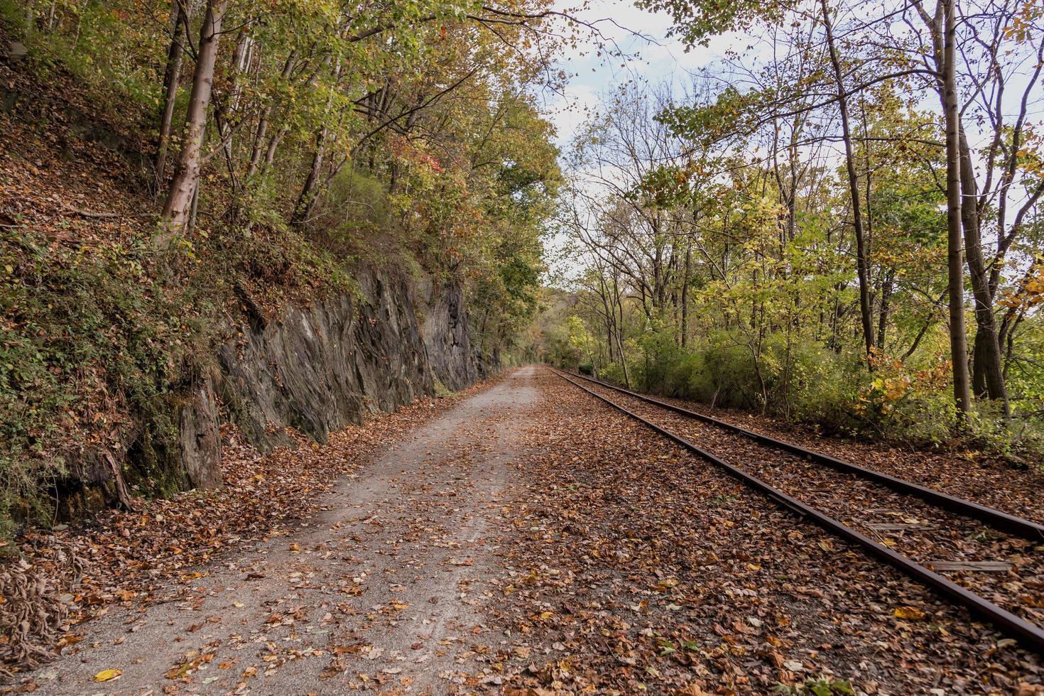 Autumn path along railroad tracks photo