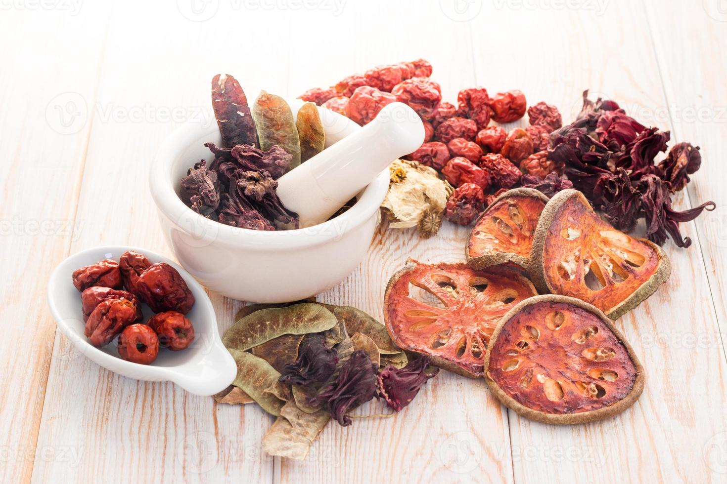 Ingredients for Chinese herbal soup photo