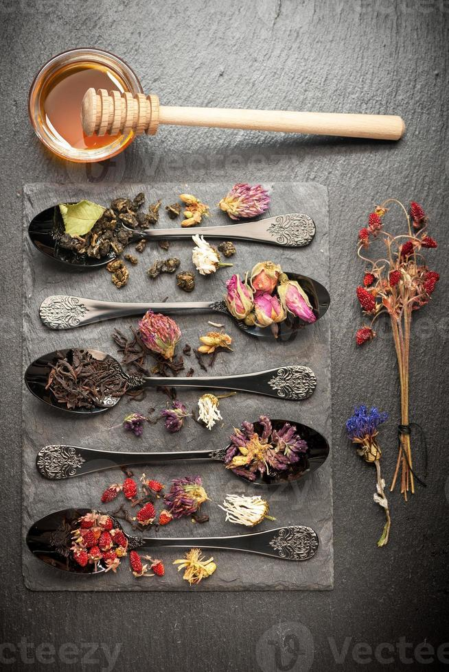 Dried herbs, flowers  and fragrant tea photo