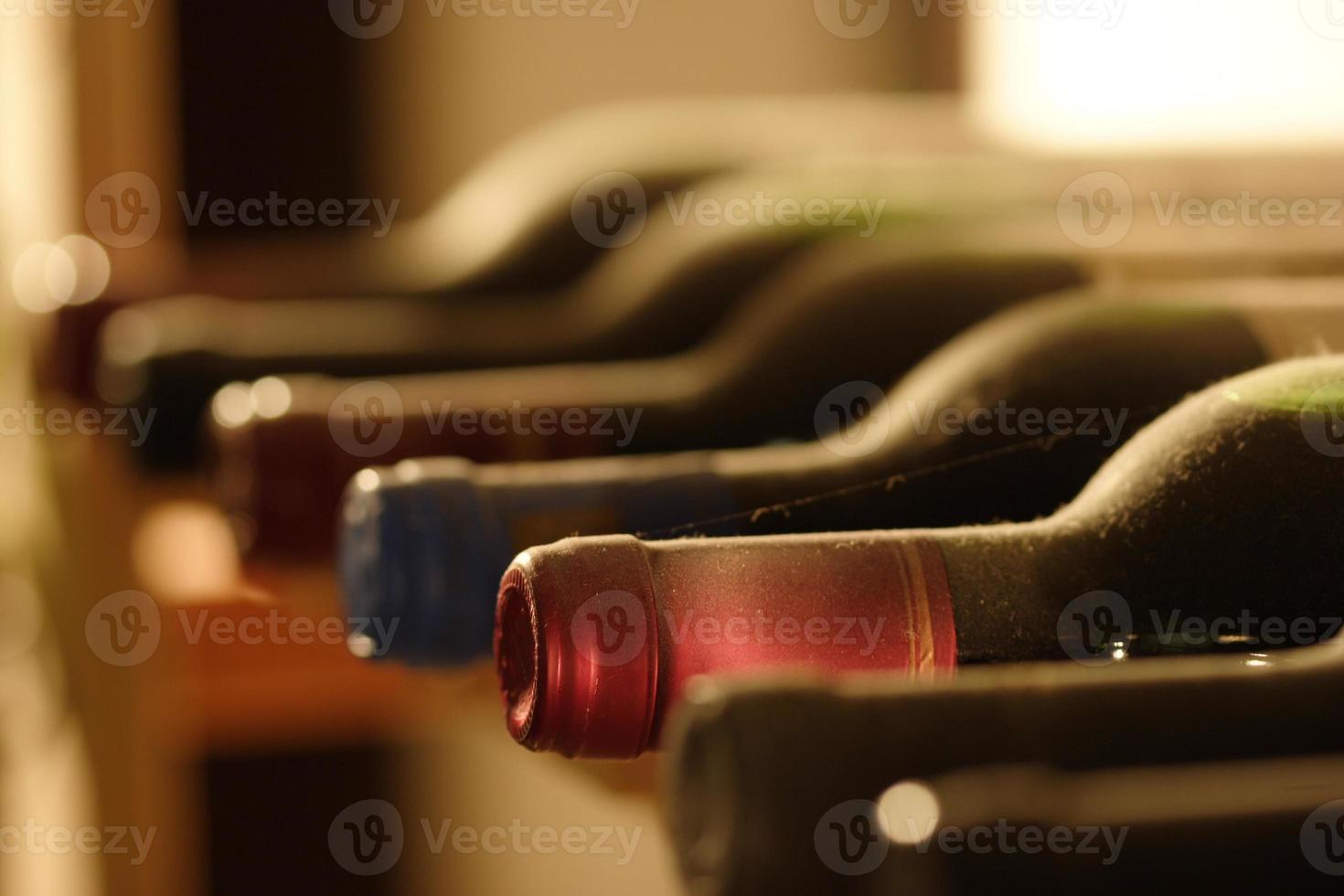 wine bottles in a shelf photo