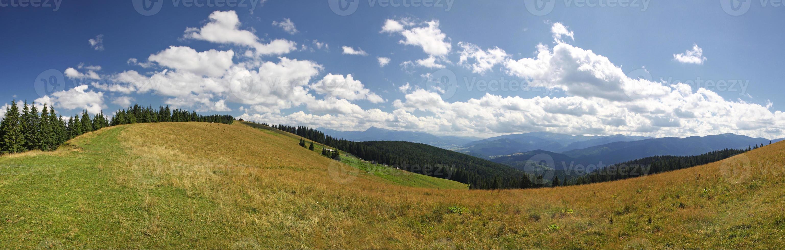 Panoramic view of Carpathian mountains, Ukraine photo