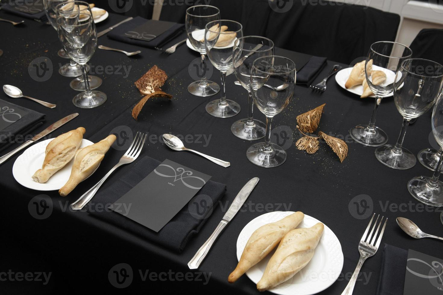 Dishware set in a restaurant table photo