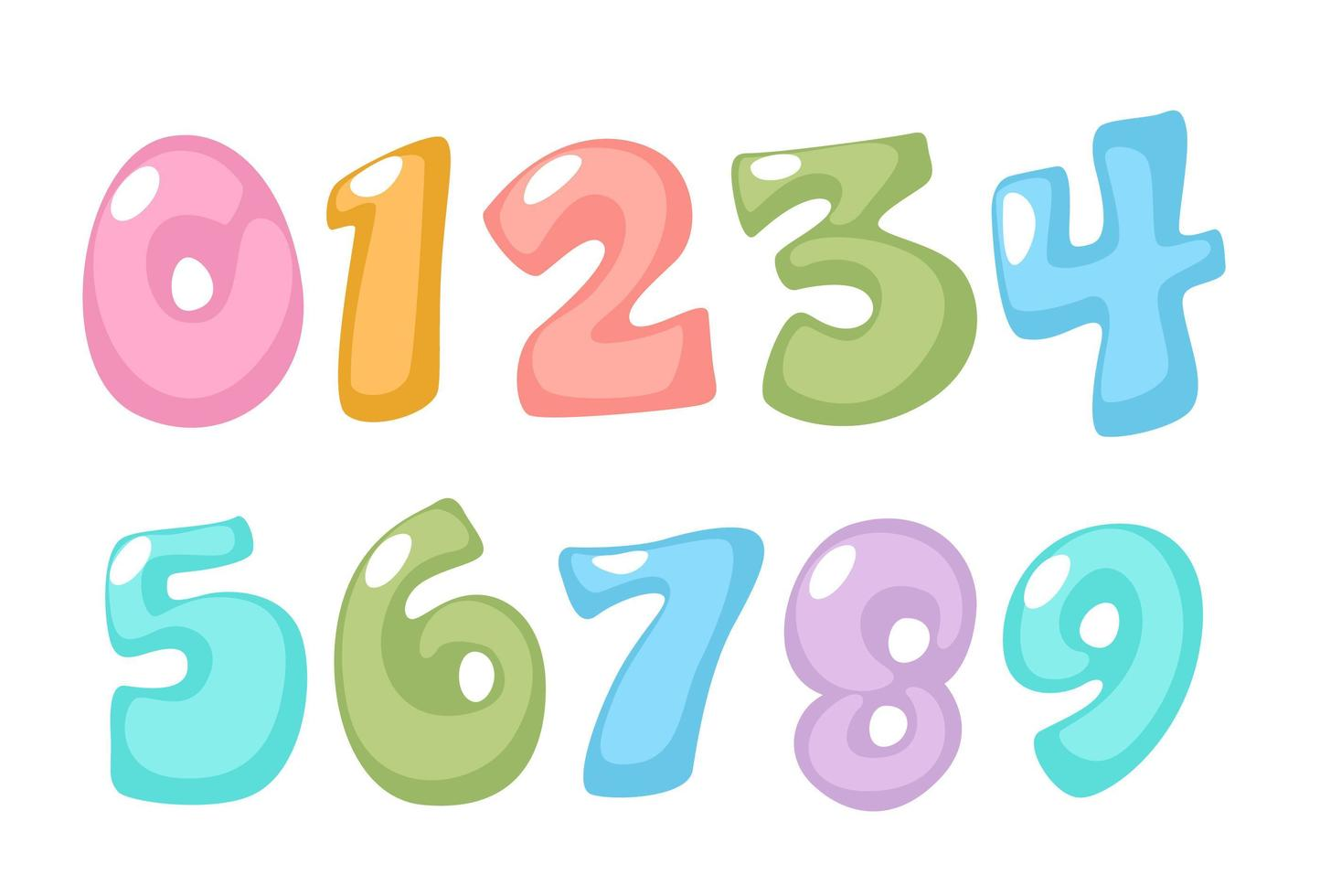 divertidos, números em cores pastel vetor