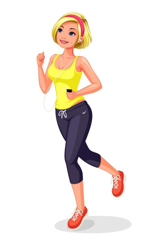 jovem correndo e se exercitando vetor