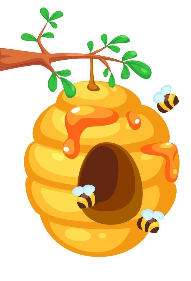colmeia de abelhas fofa na árvore vetor