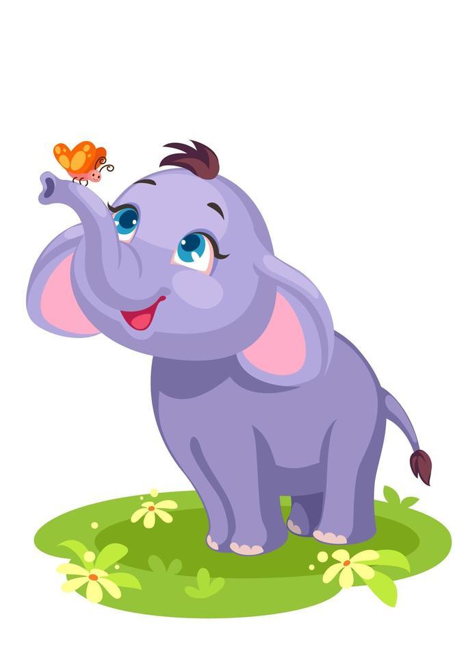 elefante bebê fofo brincando com uma borboleta vetor