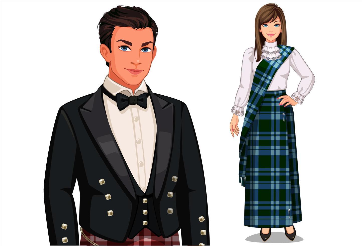 casal escocês com roupas tradicionais vetor