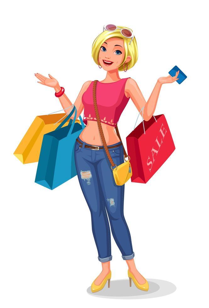 jovem segurando sacolas de compras vetor
