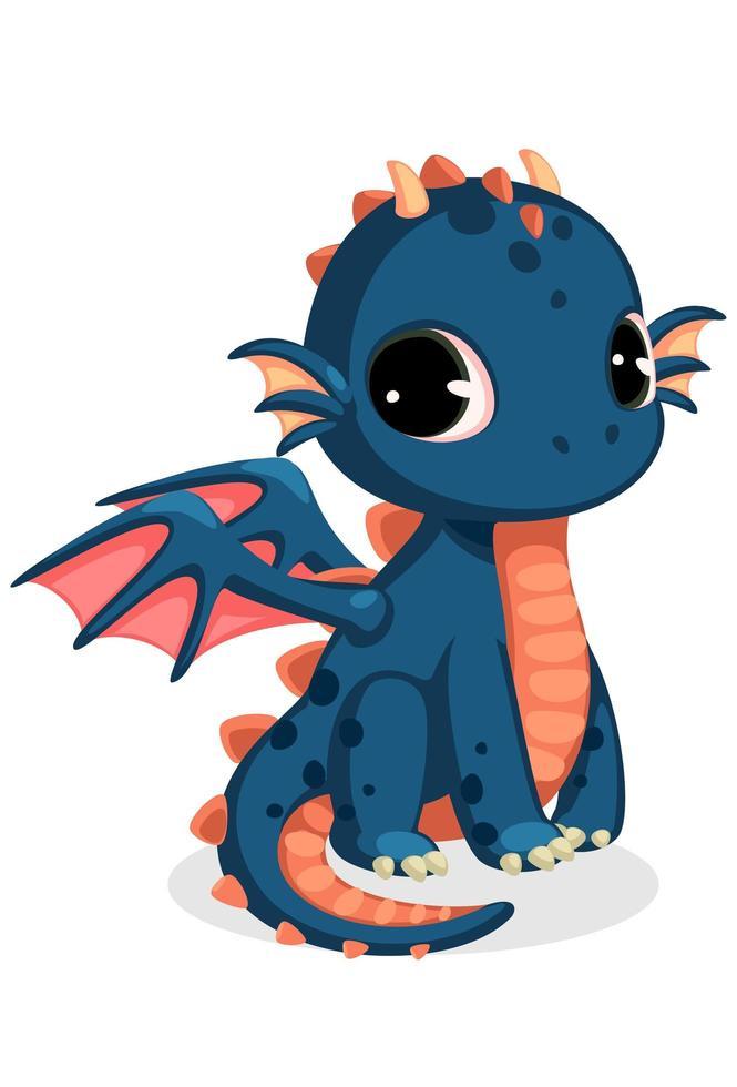 desenho bonito de dragão bebê azul escuro vetor