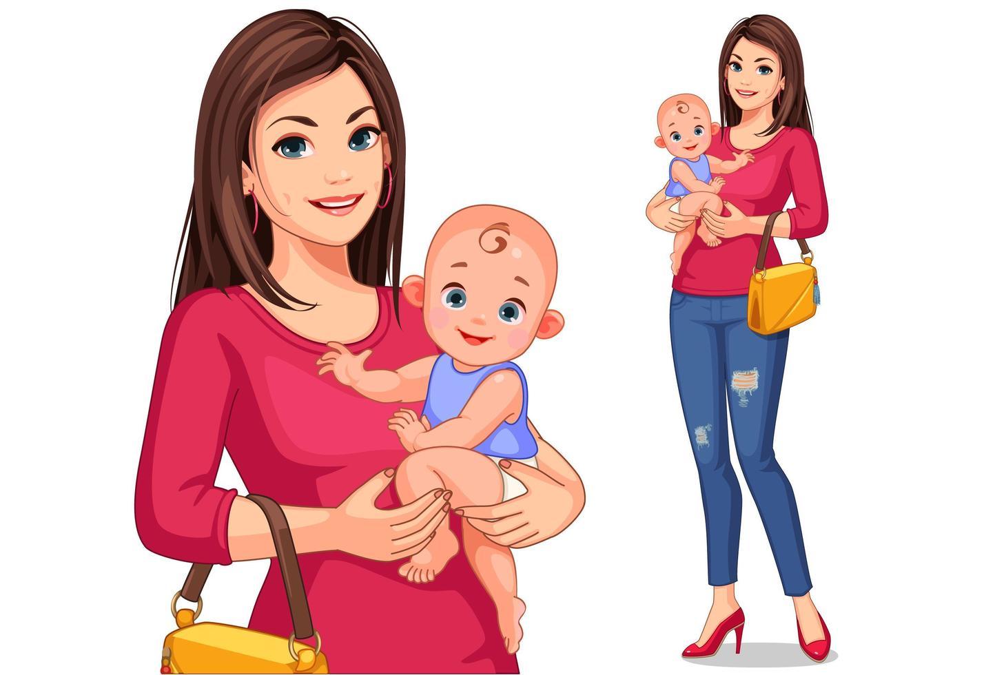 feliz jovem mãe e bebê vetor