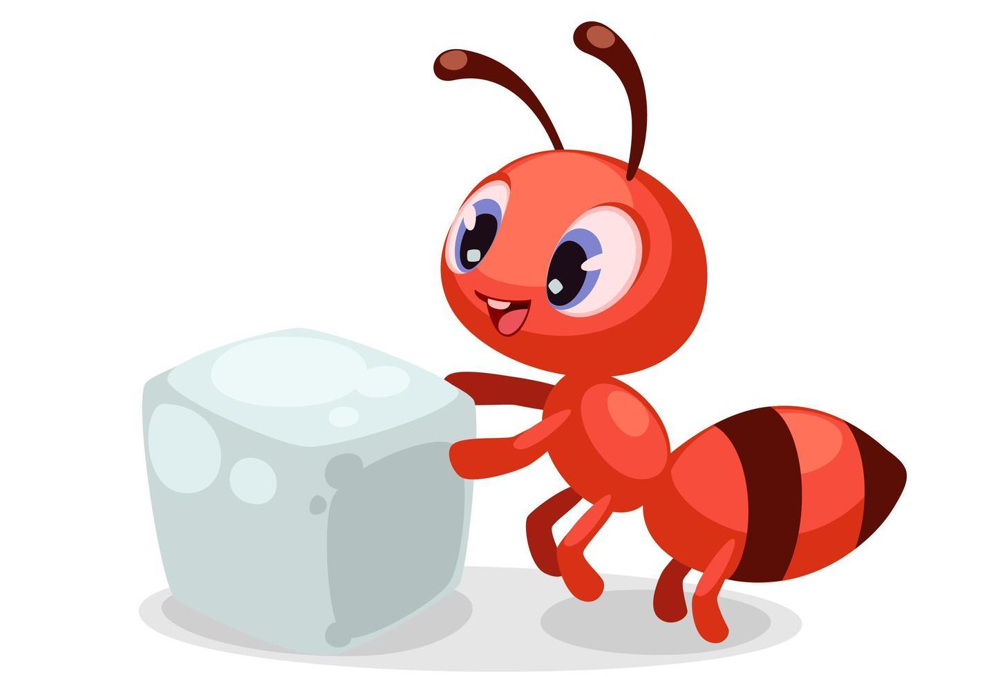 Formiga bebê fofa carregando um cubo de açúcar vetor