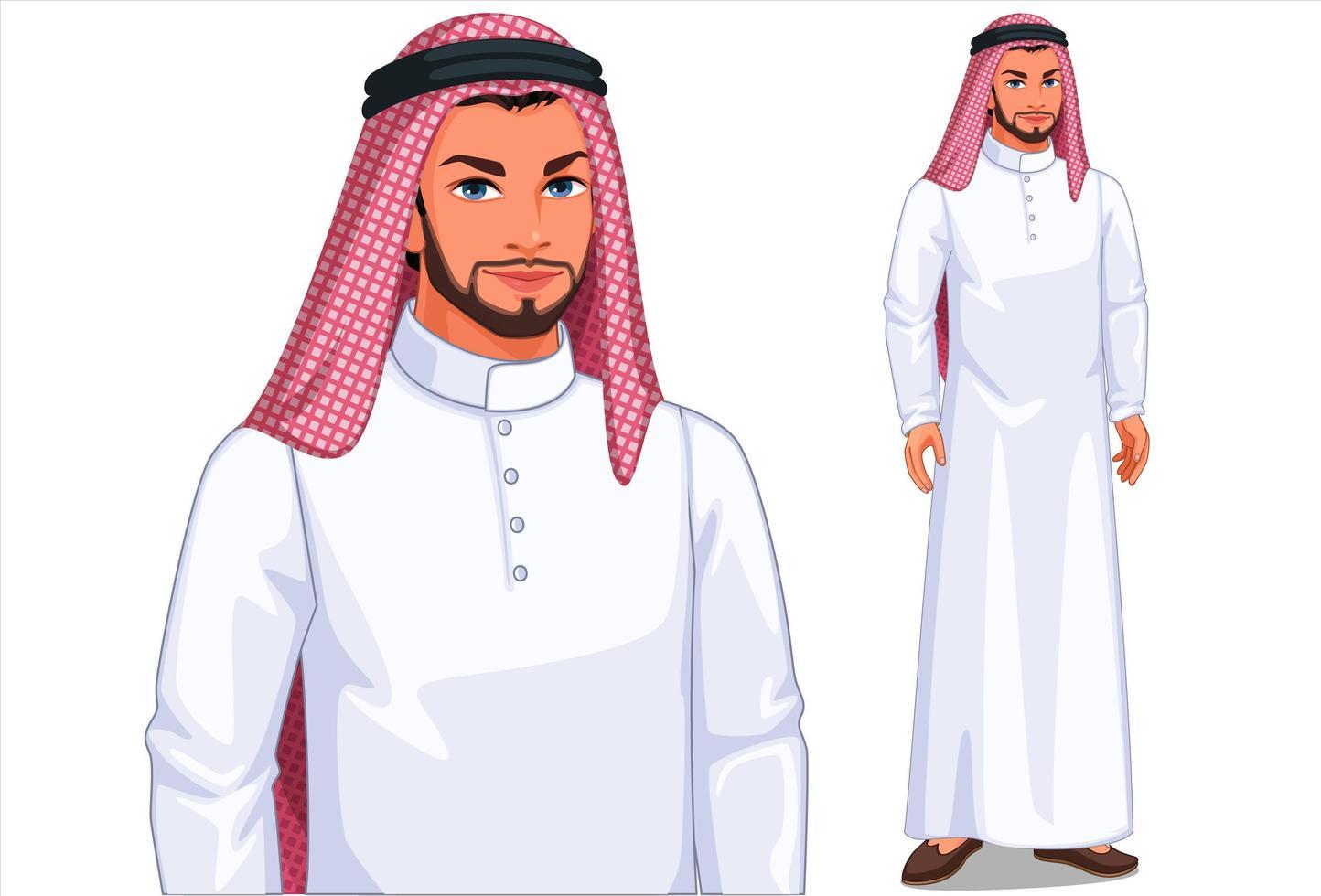 homem do Oriente Médio em pé vetor