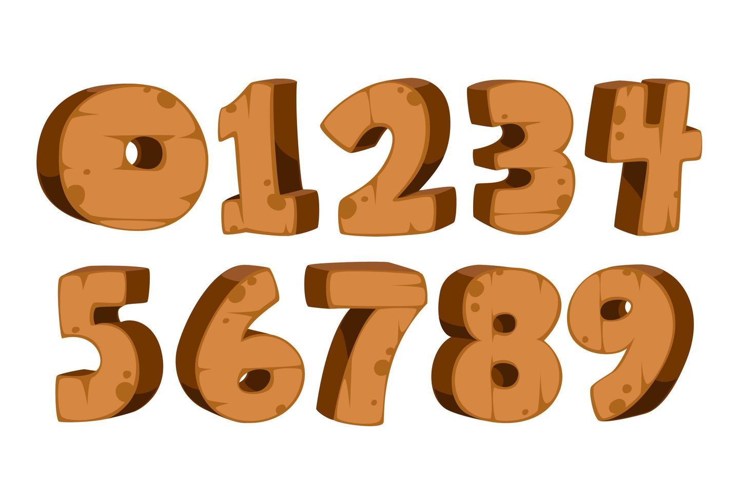 números em negrito com textura de madeira vetor