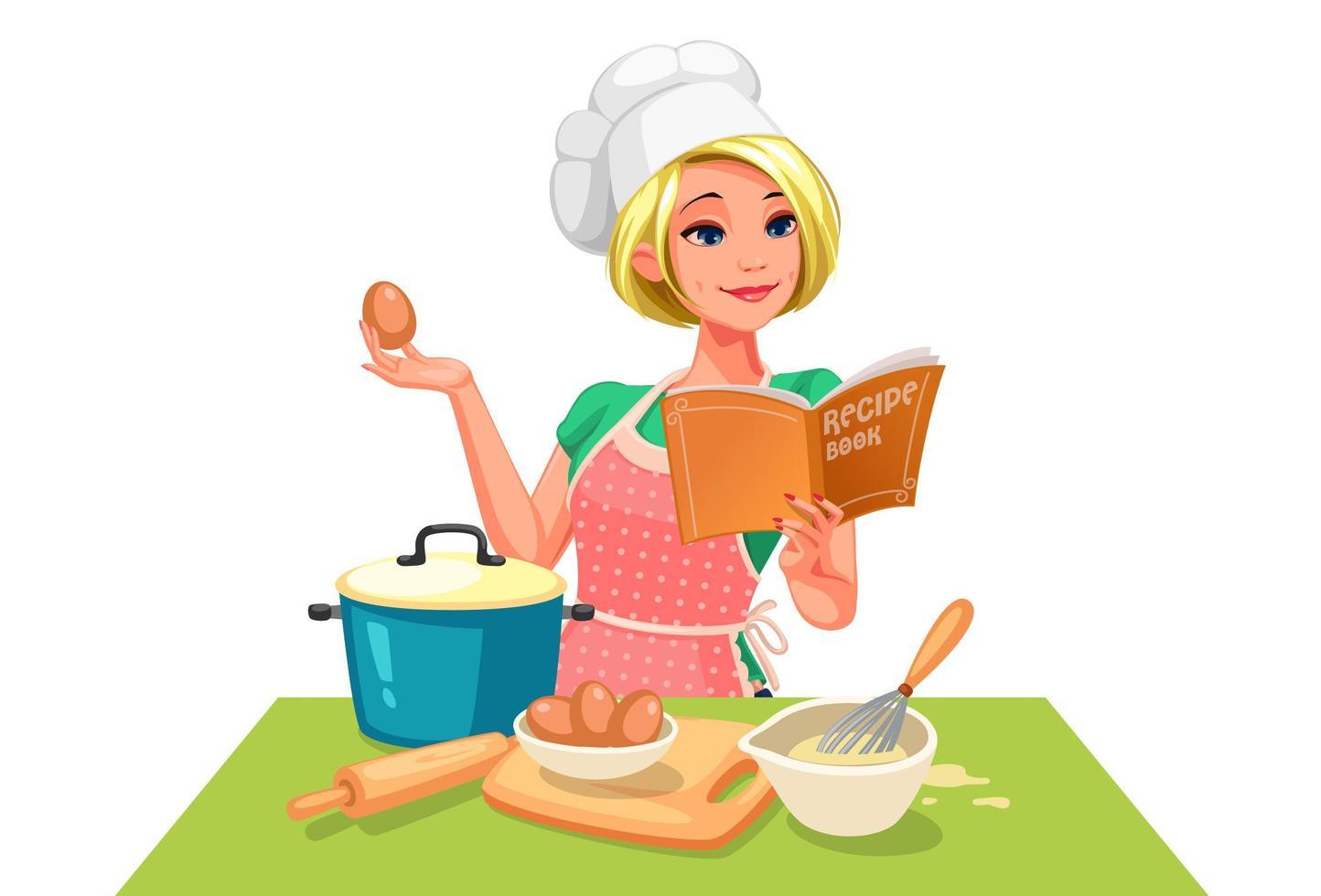 mulher com chapéu de chef seguindo uma receita vetor