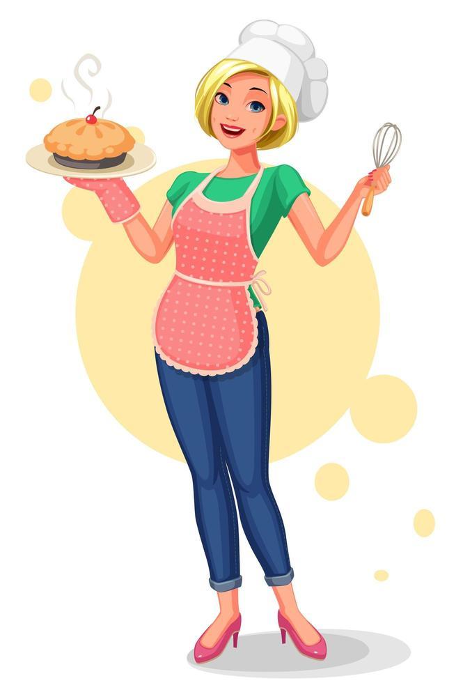mulher feliz com chapéu de chef, segurando uma torta vetor